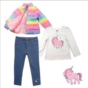Kid's Headquarters 3-Piece Set - Rainbow/Unicorn
